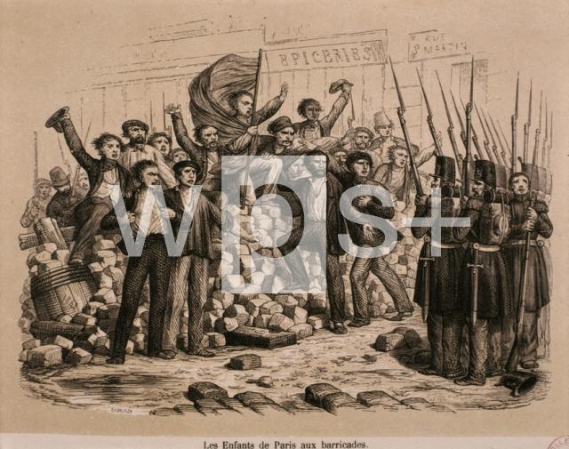 2月革命「バリケードを築くパリの若者達」 - 歴史 | wps+(ワールド・フォト・サービス)