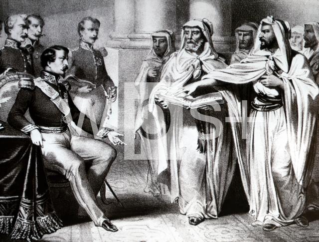 アブド・アルカーディルに自由を与えるフランス共和国君主ルイ ...